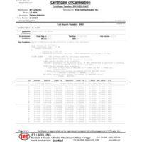 Dados de teste de calibração do Z540